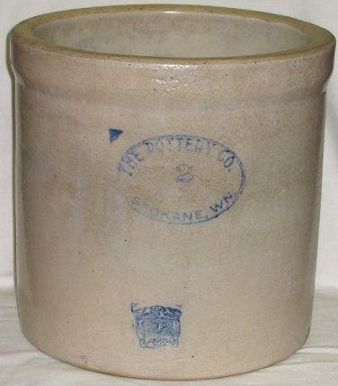 482: Old 2 gallon Spokane WN Pottery Crock~Washington