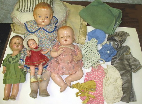 """1: Lot of 4 """"as found"""" Antique Compo Estate Dolls"""