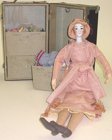2: 1970s French Style Fashion Doll w Travel Trunk