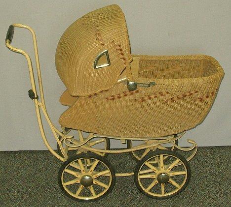 9: Antique Wicker Doll Buggy w Wooden Spoke Wheels