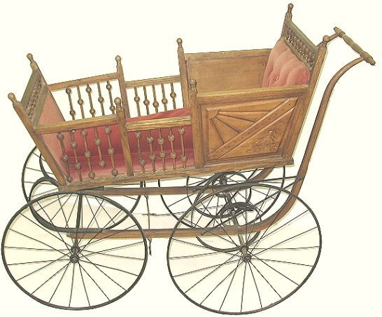 15: Antique Deluxe Victorian Baby Buggy Stick & Ball