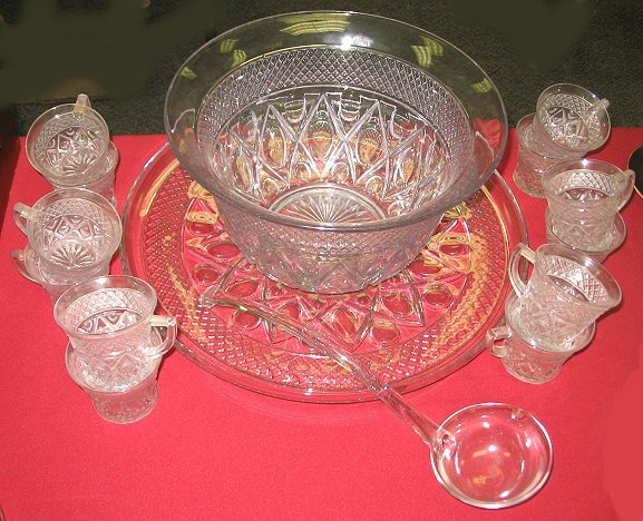 17: Imperial Cape Cod Punch Bowl w Cups/Plate/Ladle