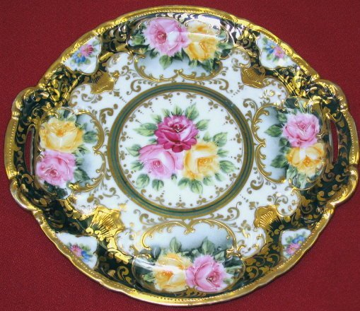 19: Pre-Nippon Hand Painted Handled Plate~Lush Roses