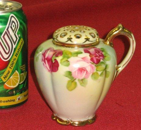 20: Nippon Handled Muffineer/Sugar Shaker w Roses