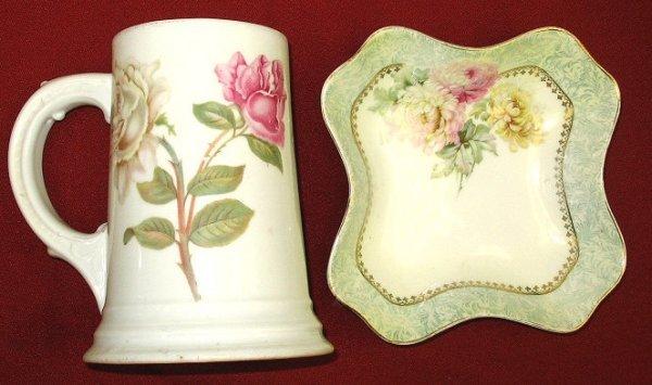 21: Unusual Tall Rosenthal Mug w Roses & Prussia Bowl