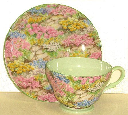 22: Vintage Shelley Cup & Saucer = Rock Garden