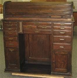 130: Antique Jeweler/Watchmakers Oak Barrel Roll Desk