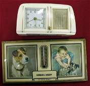 565 Celluloid Musical Clock  Advertising Thermometer