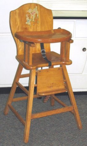585 1950s vintage baby high chair w decals lot 0585 antique high chairs wooden
