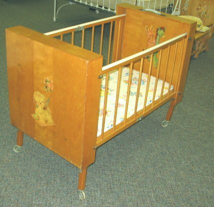 586: 1950s Vintage Folding Baby Crib w Decals - 3