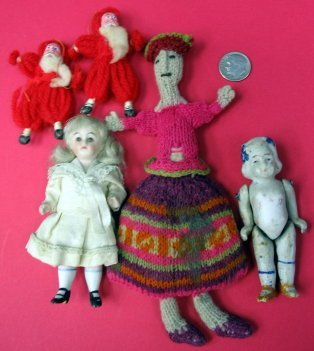599: Antique Jointed Mini Bisque Doll & German Santa