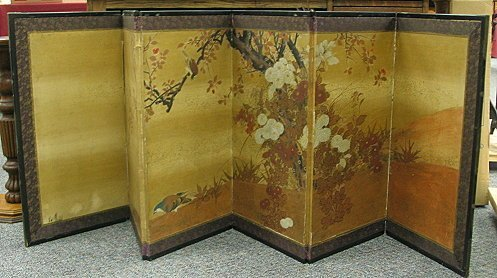 628: C 1850 Antique Japanese Panel Screen Shijo School