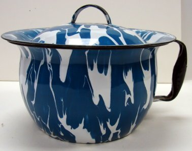 1: Showy Blue & White Graniteware Chamber Pot W/Lid
