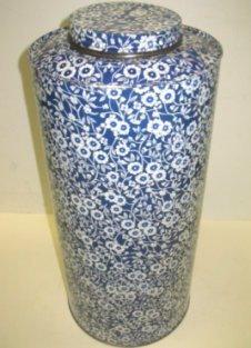 4: Unusually Large Blue & White Tea Tin