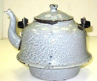 5: Antique Grey/White Enamel Ware/Granite Ware Kettle
