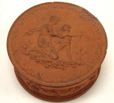 8: Unusual Red Clay Powder Box W/Fairy  Cherub Kansas