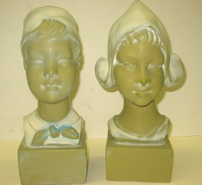 13: Large c1941 Chalkware Bookends Dutch Boy & Girl