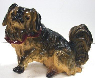 15: Vintage Chalkware Pekingese Dog Statue Glass Eyes