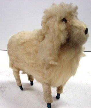 25: Antique Wool Sheep Dog Toy On Casters