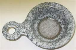 103: Unusual Granite Ware/Enamel Ware Tea Strainer