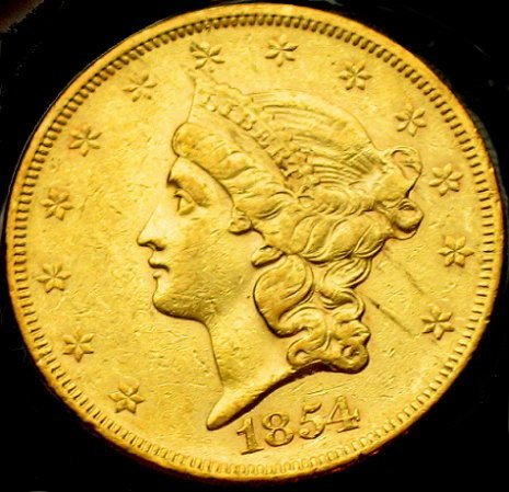 117: 1854 Double Eagle $20 Gold Piece - US Coin