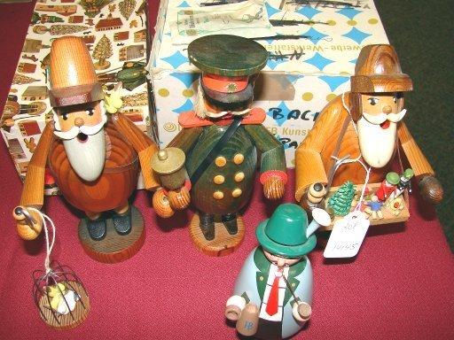 130: Set of 4 Wooden Erzgebirge Incense Smoker Figurine