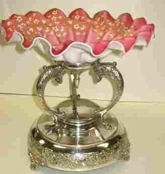 167: Victorian Enameled Art Glass Brides Basket w/Lions