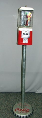 1002: Vintage Gumball Machine Coca Cola Theme Orig Base
