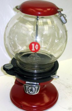 1009: 1920s Columbus Model A Penny Gum Ball Machine
