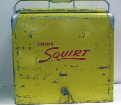 1018: Vintage Yellow Drink Squirt Soda Cooler