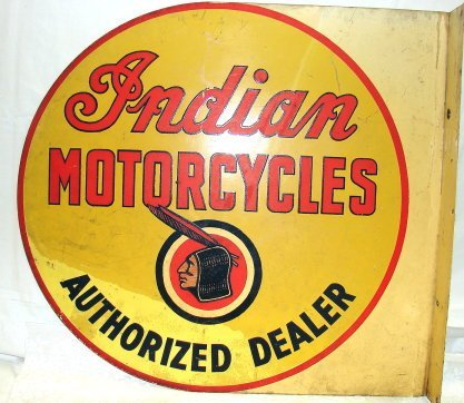 1075: Original Indian Motorcycles Tin Advertising Sign