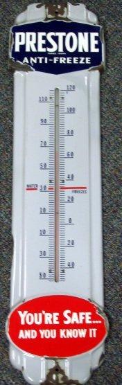 1091: Big Old Porcelain Prestone Antifreeze Thermometer