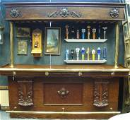 1559: Saloon Style Front Bar W/Brass Rails