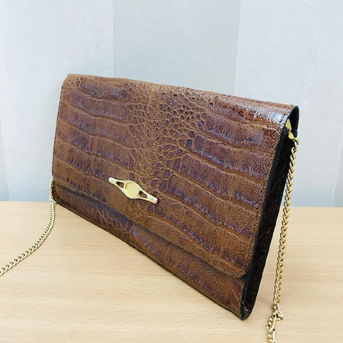 Vintage Crocodile Leather Clutch Bag - 5