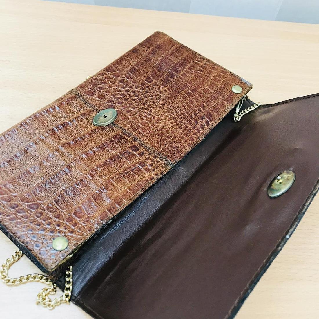 Vintage Crocodile Leather Clutch Bag - 7