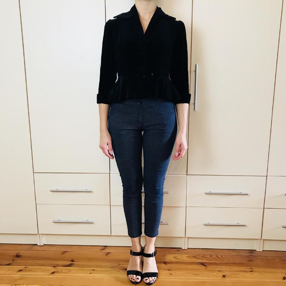 Vintage Women's Black Velvet Jacket Blazer - 2