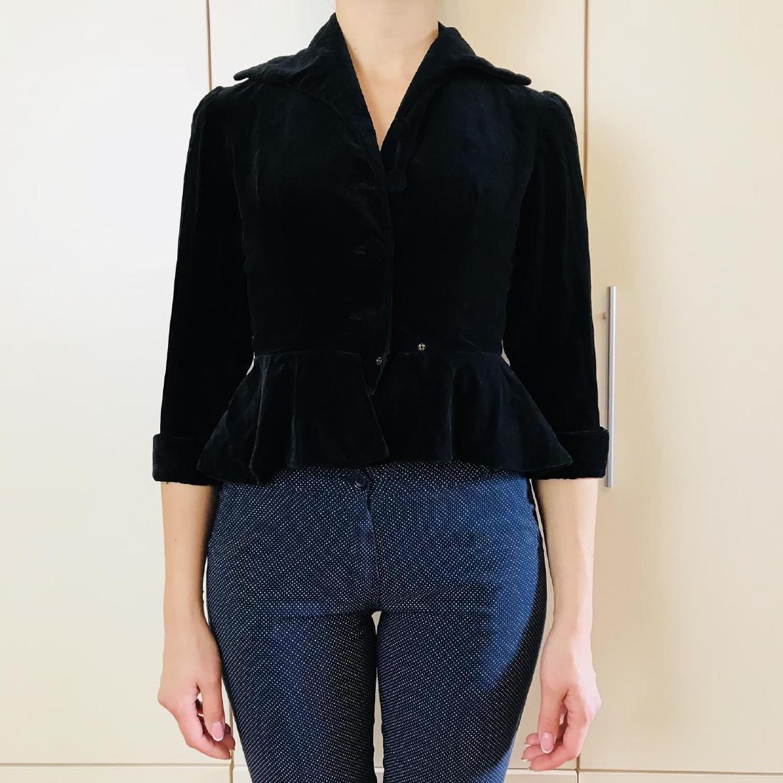 Vintage Women's Black Velvet Jacket Blazer - 3