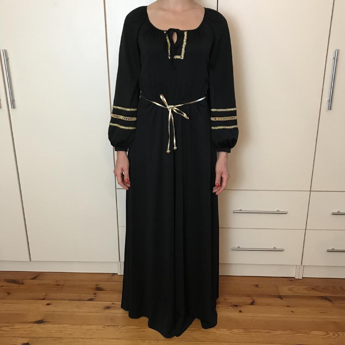 Betty Barclay Black / Gold Vintage Designer Dress - 2