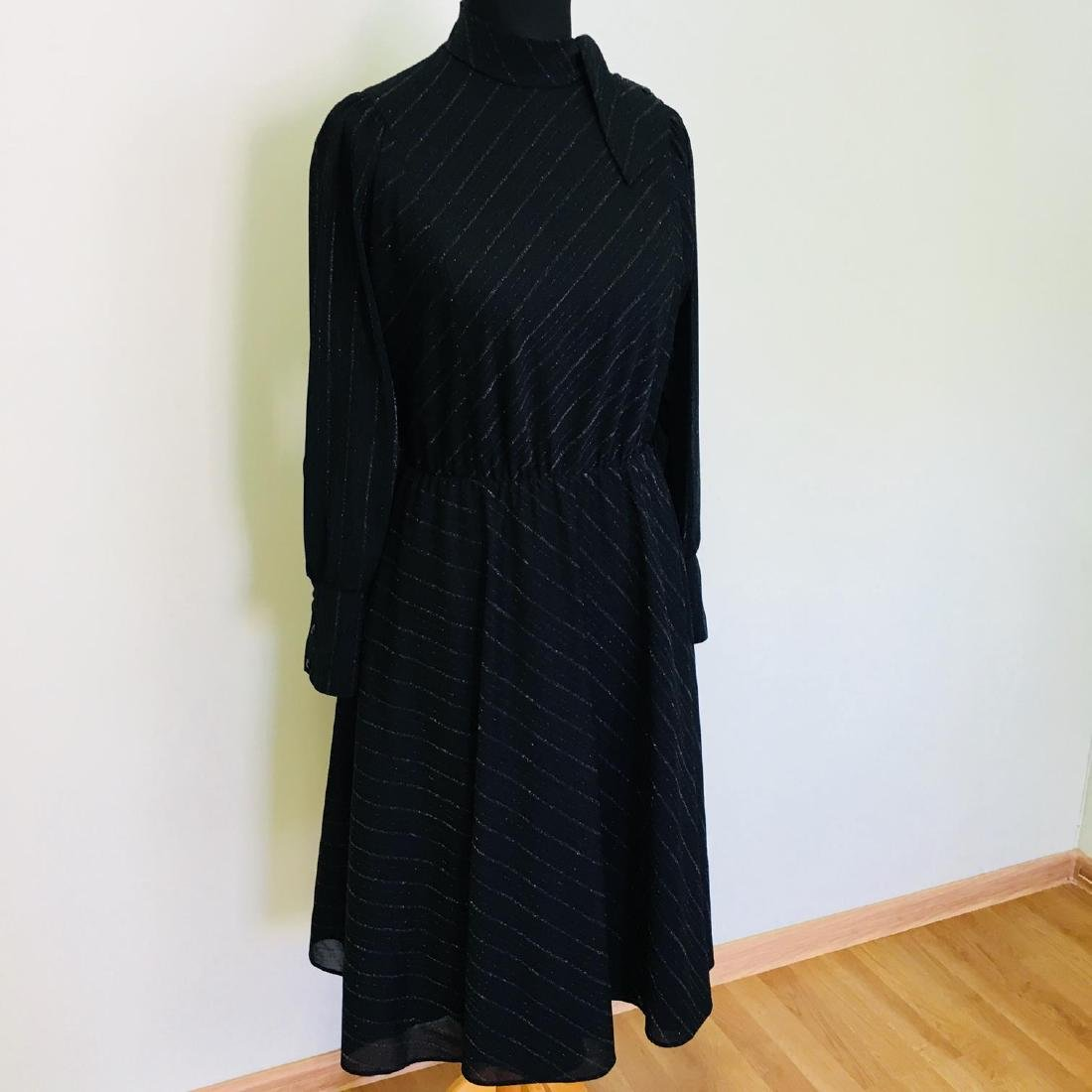 Vintage Women's Black Coctail Evening Dress - 2