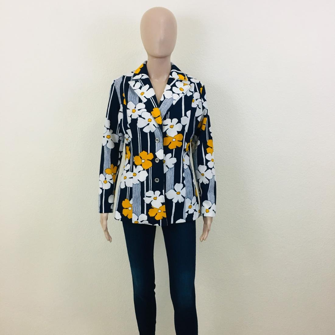 Vintage Women's Navy Blue Flower Blazer Jacket - 2