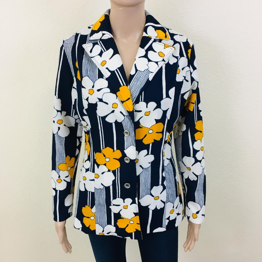 Vintage Women's Navy Blue Flower Blazer Jacket - 4