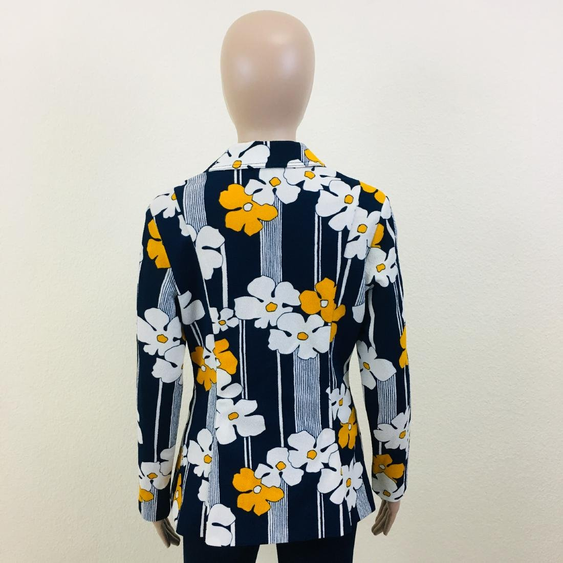 Vintage Women's Navy Blue Flower Blazer Jacket - 7