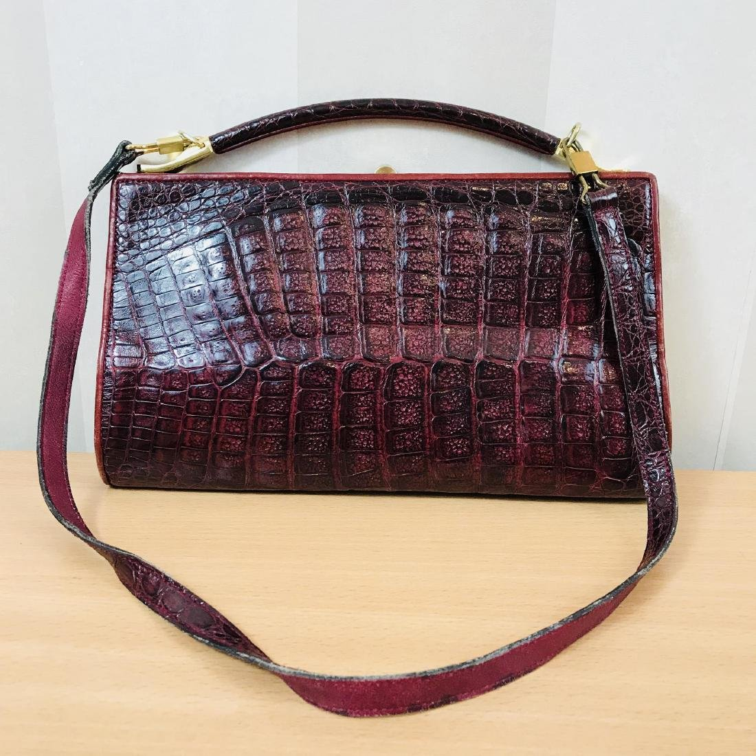Vintage Bordeaux Crocodile Leather Handbag / Shoulder