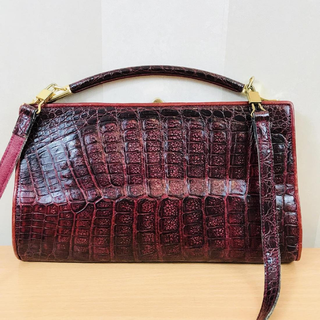 Vintage Bordeaux Crocodile Leather Handbag / Shoulder - 2