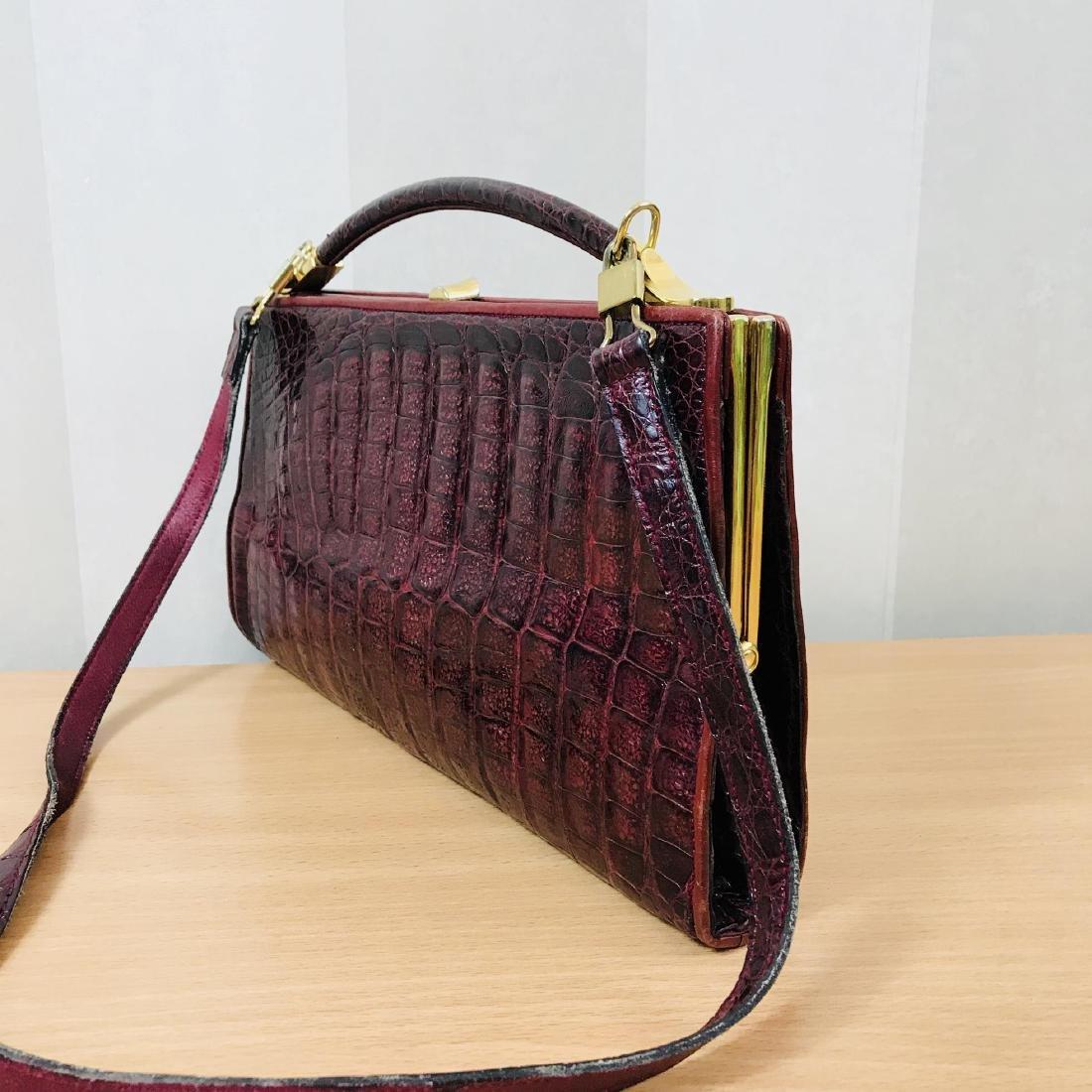 Vintage Bordeaux Crocodile Leather Handbag / Shoulder - 3