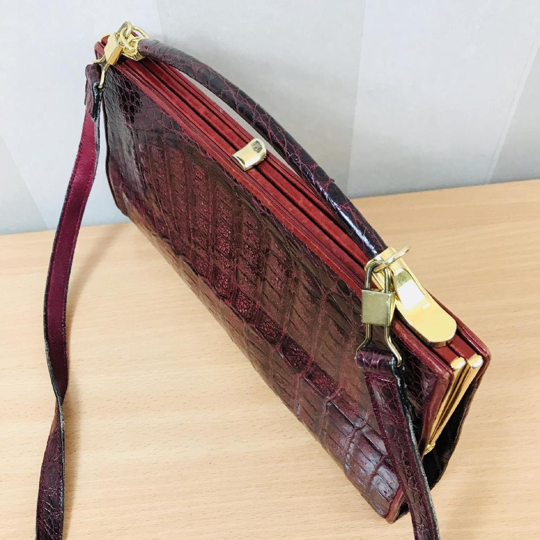 Vintage Bordeaux Crocodile Leather Handbag / Shoulder - 4