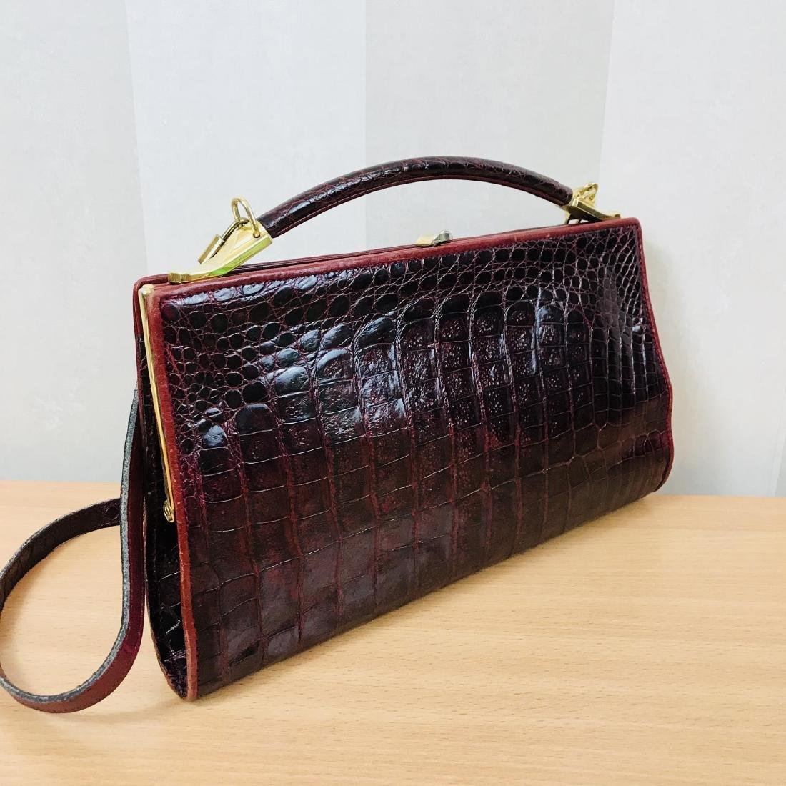 Vintage Bordeaux Crocodile Leather Handbag / Shoulder - 5