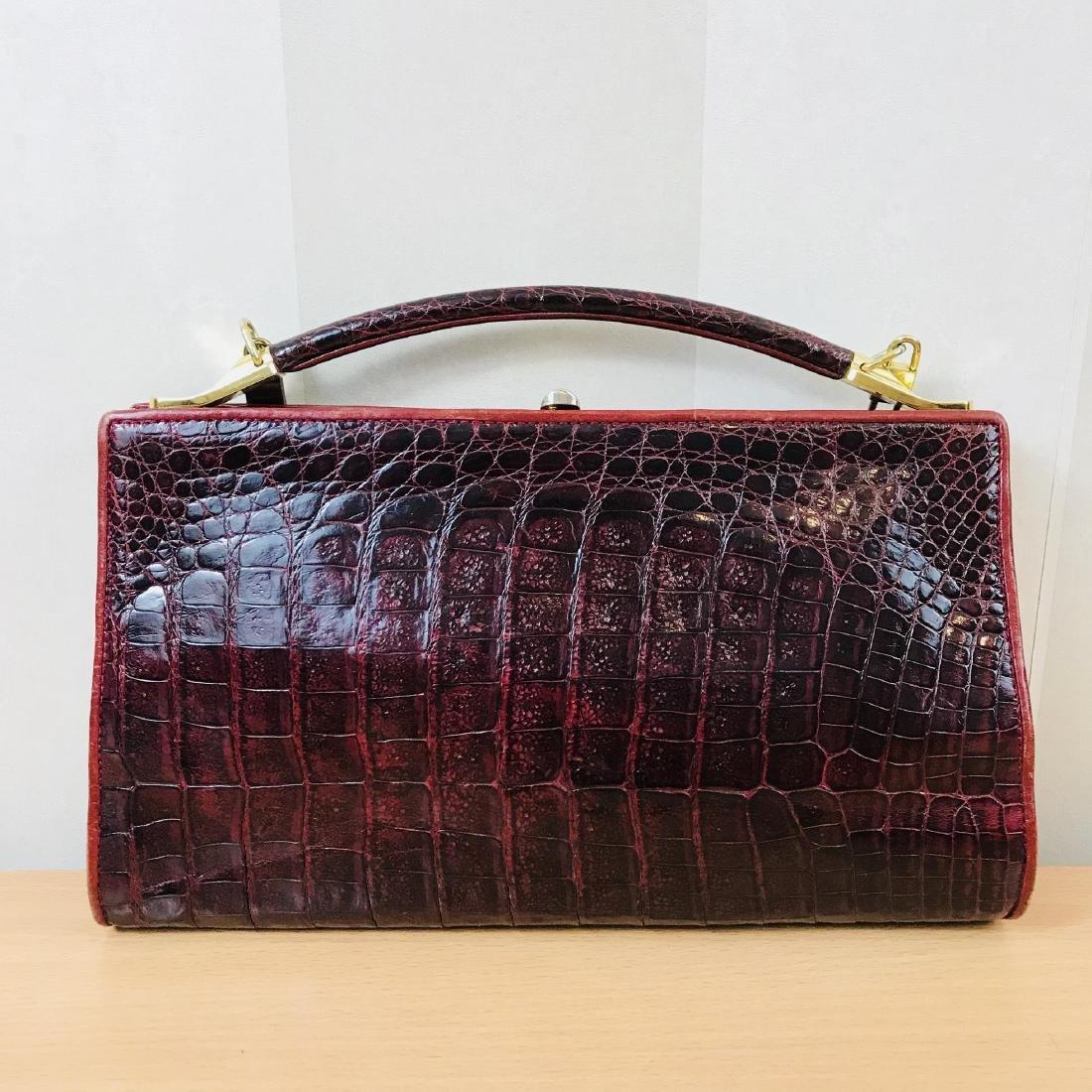 Vintage Bordeaux Crocodile Leather Handbag / Shoulder - 6
