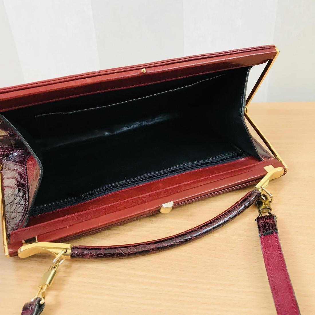 Vintage Bordeaux Crocodile Leather Handbag / Shoulder - 7