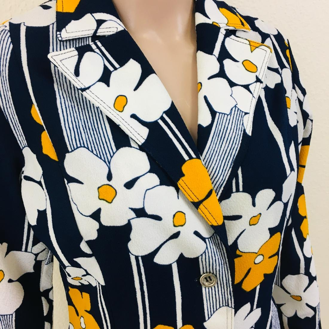 Vintage Women's Navy Blue Flower Blazer Jacket - 5